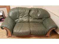 Olive green leather sofa