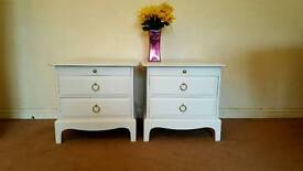 Stag bedside cabinets painted in Laura Ashley pale dove grey