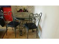 Cast iron and glas 4 tables with 4chairs