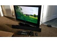"LG 32"" lcd with new mighty rock sound bar with Bluetooth"