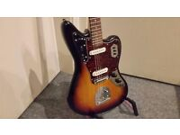 FENDER SQUIER VINTAGE MODIFIED JAGUAR ELECTRIC GUITAR - 3 COLOUR SUNBURST - Collection Only