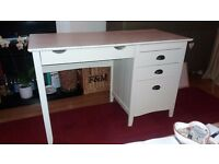 Cream desk for sale. Good solid desk originally from The Cotswolds Company.