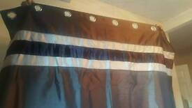 2× pairs of brand new brown and beige fully lined eyelets curtains