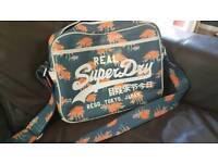 Superdry leather messenger bag