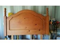 Solid pine wooden head board single bed tidy clean and presentable