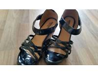 Leather patent wedges