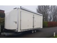 Tow master exhibition unit mobile office full size awning double patio doors