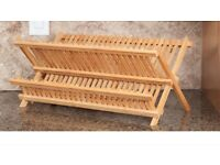 Brand New In The Box- Foldable 2 Tier BAMBOO Dish Drying Rack/Dish Drainer