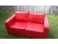 Postbox Red Faux Leather Sofabed