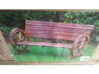 2 brand new boxed wagon wheel benches and rocking chair