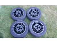 Bbs ra alloy wheels golf mk2 jetta g60 polo 4x100 black