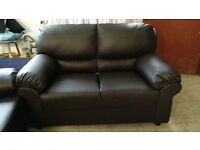 Brand NEW Brown Leather 3+2 Seater Sofa Suite FREE LOCAL DELIVERY