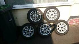 "Set of 5 Minilite alloy wheels for classic mini 4.5Jx12"" et35"