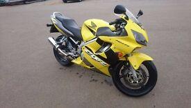 Honda cbr 600 f f4i yellow , sports exhaust great bike.