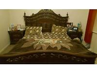Pure wood King size bed with two side tables