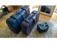 Brand New Blue Faux Leather Travel Set (His & Hers Suitcases & Toilet Bag)