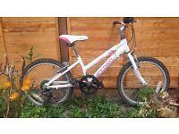 "Girls Bike - Python Rock 20"" Wheel White and Pink Cost £175 VGC"