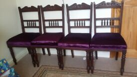 4 Lovely Antique Victorian mahogany Dining Chairs Rail Backs