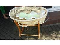 Moses basket, stand and bath seat