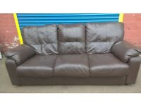 3 seater Brown Leather Sofa Couch for sale