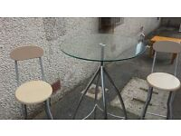 Glass and metal compact breakfast table ( Ex John Lewis )