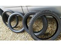 Motorcycle tyres.