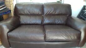 Luxury Italian brown leather sofa