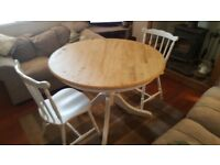 1040MM Round Shabby Chic Table and 2 Spindleback Chairs -Farrow and & Cornforth White (soft grey)
