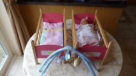 Dolls twin wooden cots