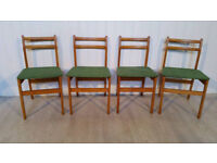 Set of Four Vintage Upholstered in Green Dining Chairs
