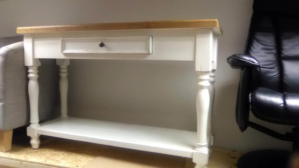 White and oak farmhouse console table