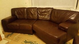 Real leather 4 seater corner sofa and arm chair