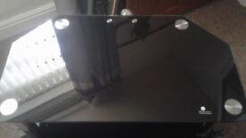 Black Glass and Chrome TV Unit