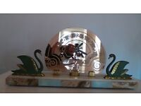 Superb Large French Art Deco Marble & Bronze Mantle Clock Mercury Mirrored Glass