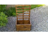 Stained Wooden planter with trellis