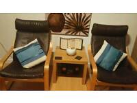2 x Ikea brown leather chairs