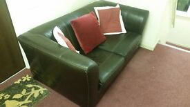 REDUCED TO JUST £20 REAL LEATHER LARGE 2 SEATER SOFA IN BROWN