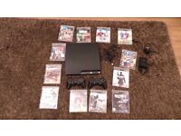 PLAYSTATION 3 PS3 CONSOLE 120GB SLIM + 2 WIRELESS CONTROLLERS+ 12 GAMES+CHARGING DOCK