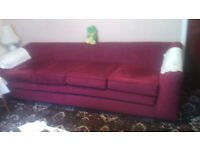 Plum Draylon, 4 seater Chesterfield settee, plus Rocker