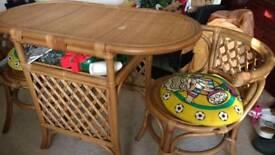 Bamboo table with 2 chairs