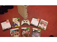 White 20gb Xbox 360 Console With 1 Controller & 7 Games