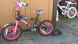 "Girls 14"" Tahiti Kent Bike with stabilisers"