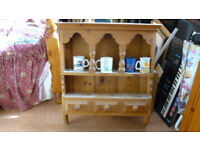 Pine kitchen display unit with drawers.