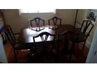 Beautiful Dark Brown Wooden Dining Table & Six Chairs