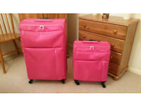 Two Matching 'Revelation!' Weightless Soft Suitcases Large & Small 4 Wheels With Locks *Like New!*