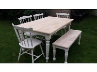 Shabby chic table, chairs and bench