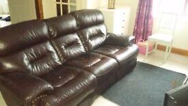 Luxury, reclining, 3 seater dark brown leather sofa
