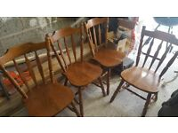 Set of 4 chairs beech wood upcycling