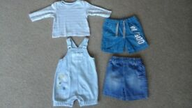 Top, Soft short dungarees & 2 x Shorts age 6-9 Months