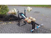 YORK 6605 WEIGHTS BENCH WITH 67.6KG WEIGHTS & BARS